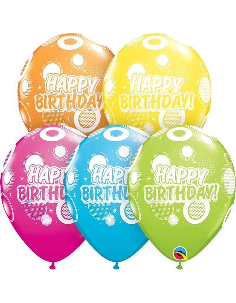"11"" Birthday Dots & Glitz Balloons (Without Helium)"