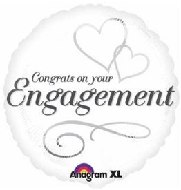 "Engagement Two Hearts 18"" Mylar Balloon"