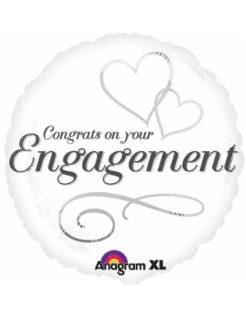 """Engagement Two Hearts 18"""" Mylar Balloon"""