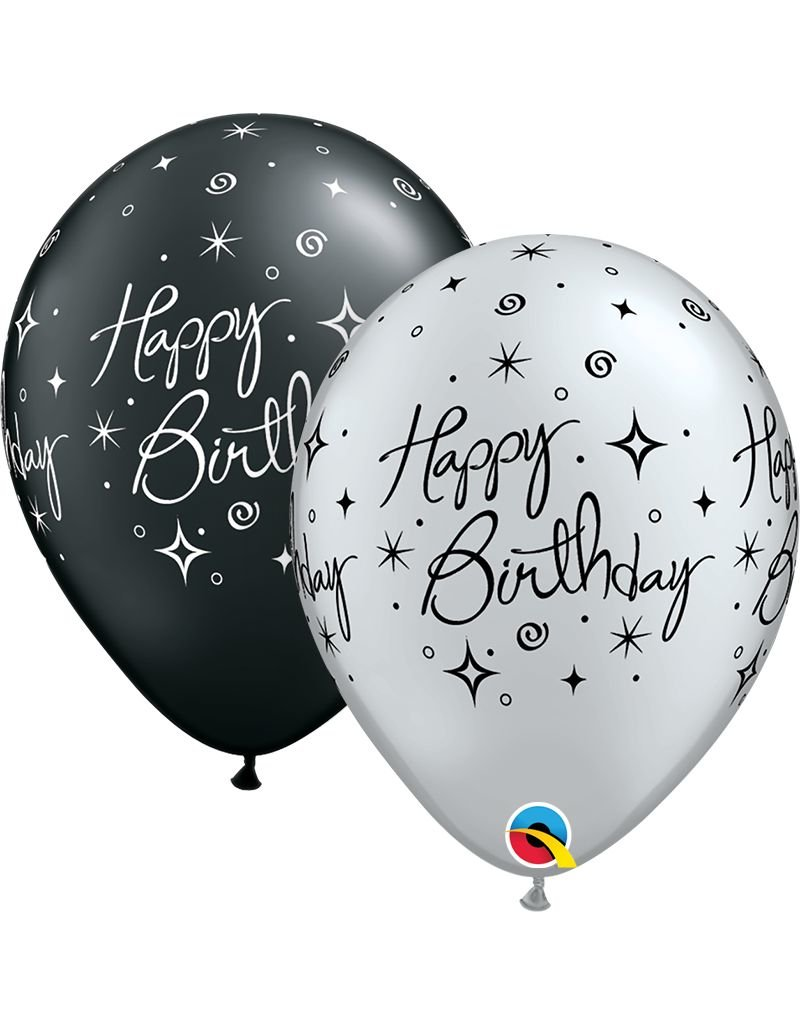 "11"" Birthday Elegant Sparkle Swirl Balloon (Without Helium)"