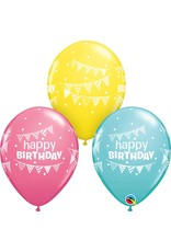 "11"" Birthday Pennant and Dots Balloon (Without Helium)"