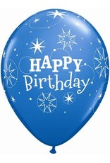 "11"" Birthday Sparkle Dark Blue & Robin's Egg Blue Balloon (Without Helium)"
