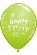 "11"" Birthday Sparkle Lime Green Balloon (Without Helium)"