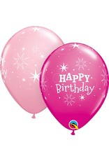 "11"" Birthday Sparkle Pink & Wild Berry Balloon (Without Helium)"