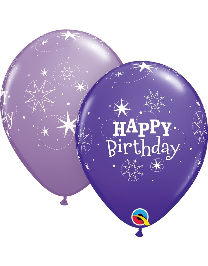 "11"" Birthday Sparkle Purple Violet & Spring Lilac Balloon (Without Helium)"