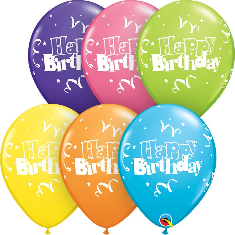"""11"""" Birthday Streamers & Stars Balloon (Without Helium)"""