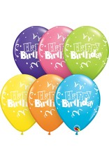 "11"" Birthday Streamers & Stars Balloon Uninflated"