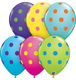 "11"" Big Polka Dots Balloon (Without Helium)"