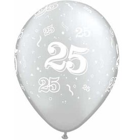 """11"""" 25th Anniversary Balloon Uninflated"""
