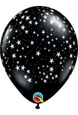 "11"" Black Stars Around Balloon (Without Helium)"
