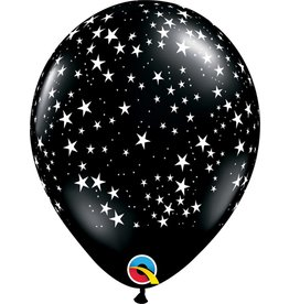 "11"" Black Stars Around Balloon Uninflated"