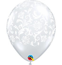 "11"" Clear Damask Balloon Uninflated"