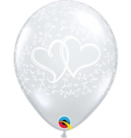 "11"" Clear Entwined Hearts Balloon Uninflated"