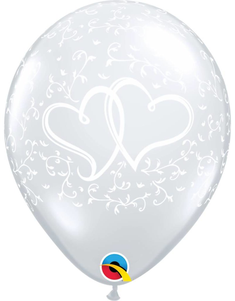"11"" Clear Entwined Hearts Balloon (Without Helium)"