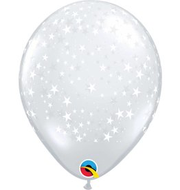 "11"" Clear Stars Around Balloon Uninflated"