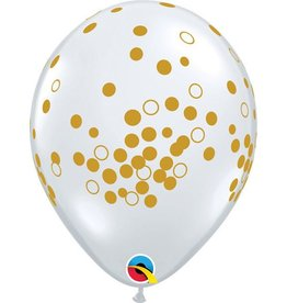 "11"" Confetti Clear with Gold Dots Balloon Uninflated"