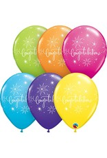 """11"""" Congratulations Elegant Tropical Balloon (Without Helium)"""