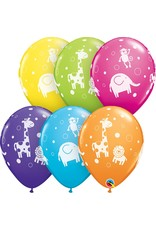 "11"" Cute & Cuddly Jungle Animals Balloon (Without Helium)"