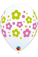 "11"" Daisy Dots & Hearts Balloon (Without Helium)"