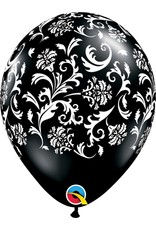"11"" Onyx Black Damask Balloon (Without Helium)"