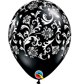 "11"" Onyx Black Damask Balloon Uninflated"