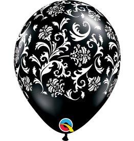 """11"""" Onyx Black Damask Balloon (Without Helium)"""