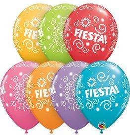 "11"" Fiesta Swirls Balloon Uninflated"
