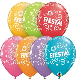 "11"" Fiesta Swirls Balloon (Without Helium)"