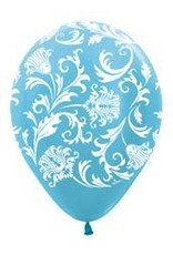 "11"" Pearl Caribbean Blue Damask Balloon (Without Helium)"