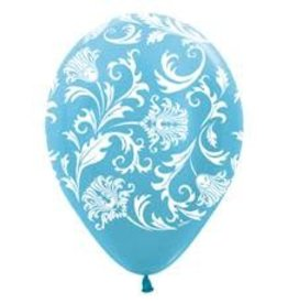 "11"" Pearl Caribbean Blue Damask Balloon Uninflated"