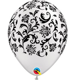 """11"""" Pearl White Damask Balloon (Without Helium)"""
