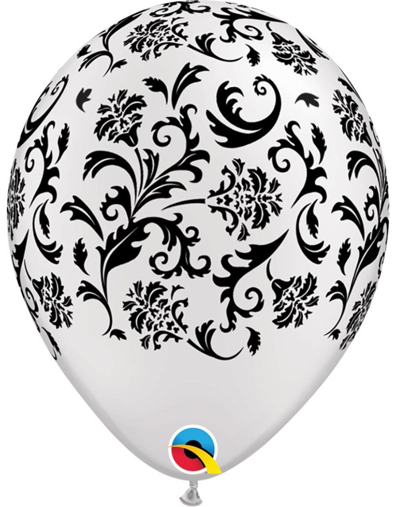 "11"" Pearl White Damask Balloon (Without Helium)"