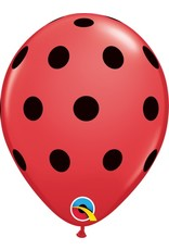 "11"" Big Polka Dots Red Balloon (Without Helium)"