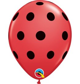 "11"" Big Polka Dots Red Balloon Uninflated"