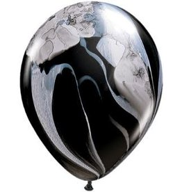 "11"" Superagate Black and White Balloons Uninflated"