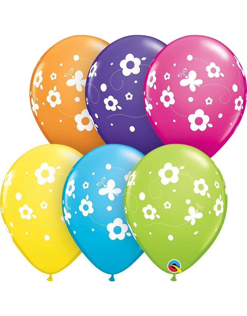 """11"""" Daisies & Butterflies Balloon (Without Helium)"""
