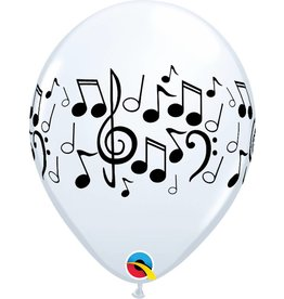 "11"" White Music Notes Balloon (Without Helium)"