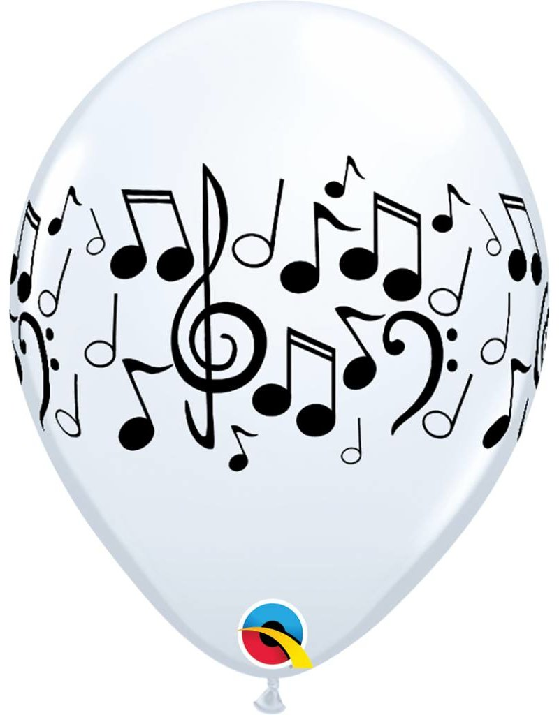 """11"""" White Music Notes Balloon (Without Helium)"""