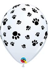 """11"""" White Paw Prints Around Balloon (Without Helium)"""