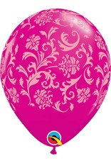 """11"""" Wild Berry Damask Balloon (Without Helium)"""
