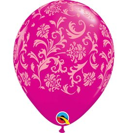 "11"" Wild Berry Damask Balloon (Without Helium)"