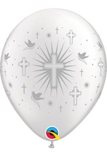 "11"" Silver Cross & Doves Balloon (Without Helium)"