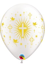 "11"" Gold Cross & Doves Balloon (Without Helium)"