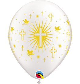 """11"""" Gold Cross & Doves Balloon (Without Helium)"""