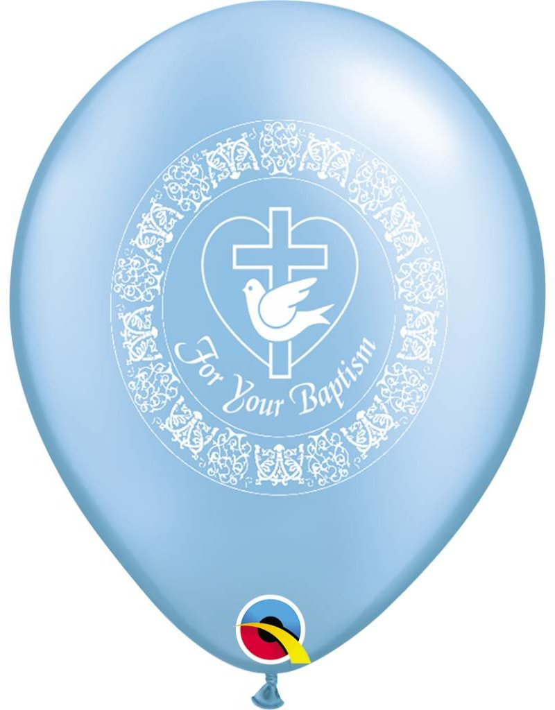 "11"" For Your Baptism Pearl Azure Balloon (Without Helium)"