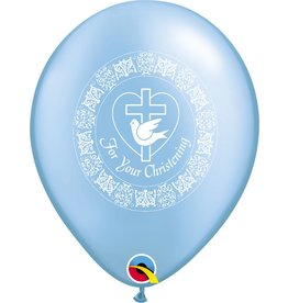 "11"" For Your Christening Pearl Azure Balloon Uninflated"