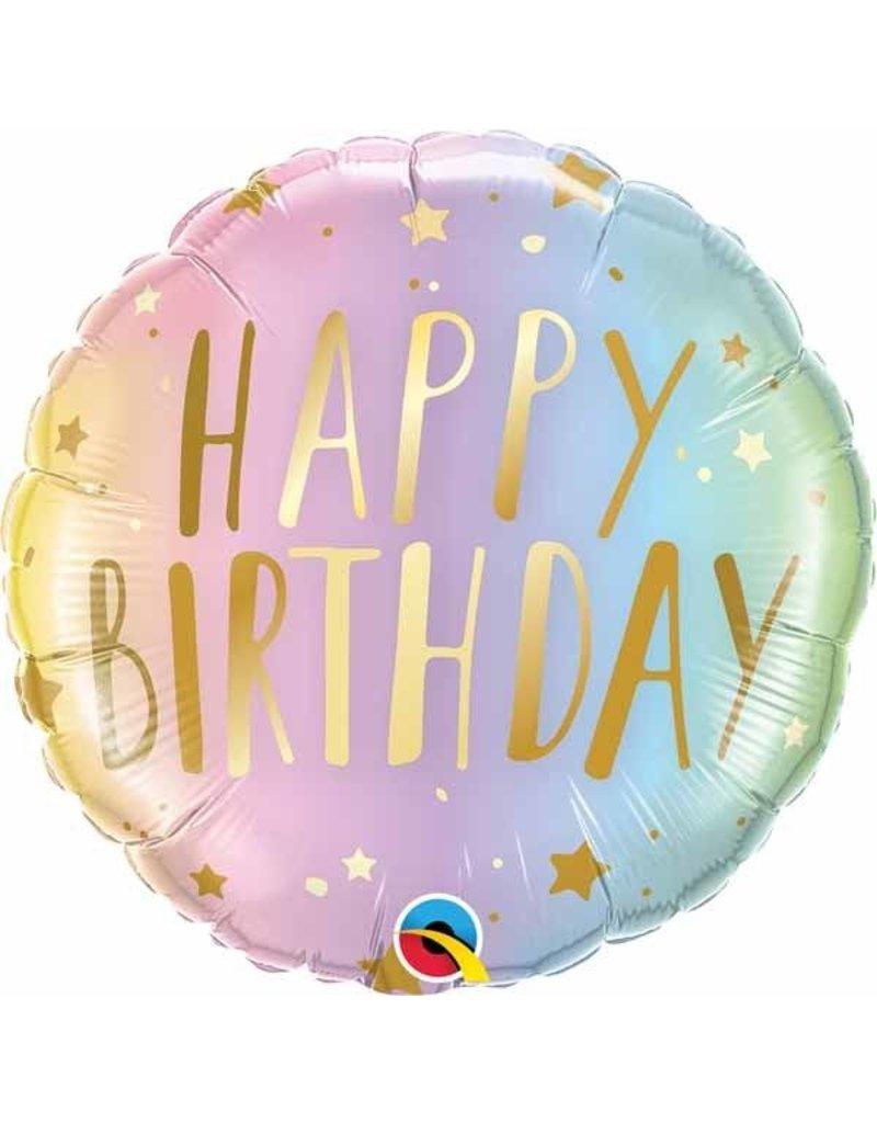 """Birthday Pastel Ombre & Stars 18"""" Mylar Balloon"""