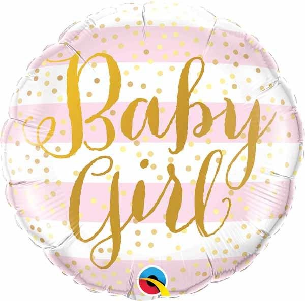 "Baby Girl Pink Stripes 18"" Mylar Balloon"