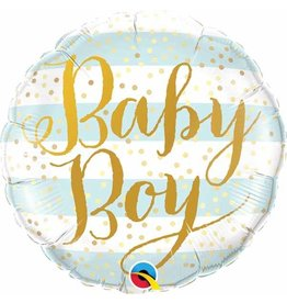 "Baby Boy Blue Stripes 18"" Mylar Balloon"