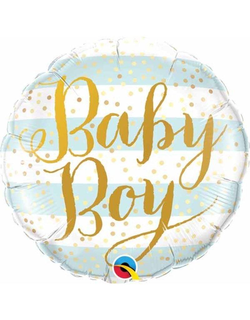"Baby Boy Blue Stripes 18"" Mylar Balloon"